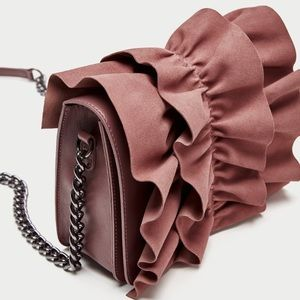 ZARA Frilled Leather Crossbody Bag